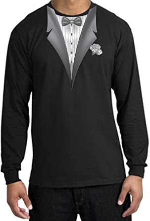9fd4ca341 TUXEDO with WHITE FLOWER Tux Adult Long Sleeve T-Shirt - Black, Small