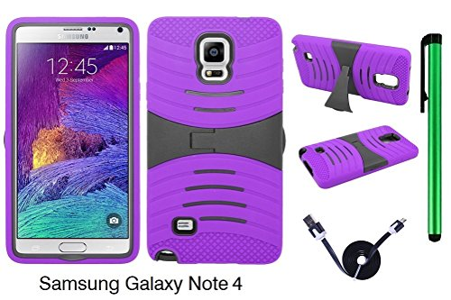 Samsung Galaxy Note 4 (2014 Fall Released; US Carrier: AT&T, Verizon, Sprint, and T-Mobile) Dual Layer Hybrid Case