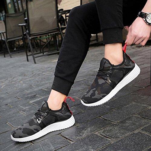 Heren Ademende Comfortabele Lace-up Sport Met Camouflage Schoenen, Lopen, Strand Aqua, Outdoor, Oefening, Atletische Sneakers Zwart