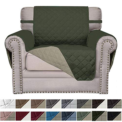 Easy-Going Sofa Slipcover Reversible Sofa Cover Furniture Protector Couch Cover Elastic Straps PetsKidsChildrenDogCat(Chair,Army Green/Beige)