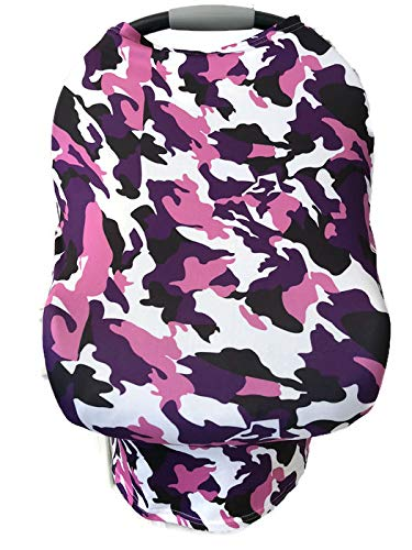 5-in-1 Multi Use Cover -Infant Car Seat and Shopping cart Cover Nursing Cover Up in Purple Pink Camo