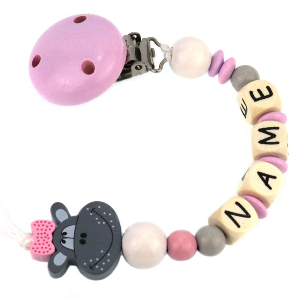 PREMIUM Schnullerkette mit Namen HOLZ Modell Sweet Hippo pink