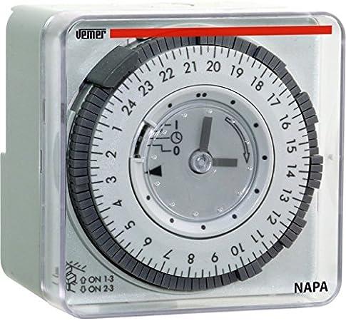 Vemer vp884100Interruptor Horario electromecánico NAPA-D, de Pared o Panel, Gris Claro