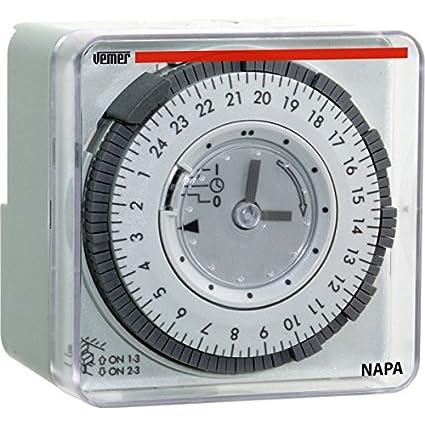 Vemer vp884100 Interruptor Horario electromecánico NAPA-D, de Pared o Panel, Gris Claro