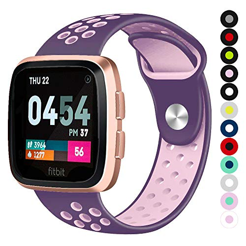 Compatible for Fitbit Versa | Soft Silicone Replacement Sport Band for New Fitbit Versa Smart Watch (Purple/Soft-Purple, Small)