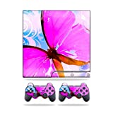 MightySkins Protective Vinyl Skin Decal Cover for Sony Playstation 3 PS3 Slim skins + 2 Controller skins Sticker Pink Butterfly Review