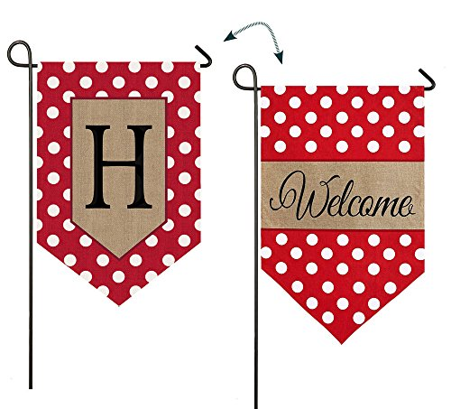 Evergreen Polka Dot Welcome Monogram