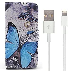 DD Blue Butterfly Pattern PU Leather Full Body Case with Stand and 100cm 8-Pin to USB Charging Data Cable for iPhone 6
