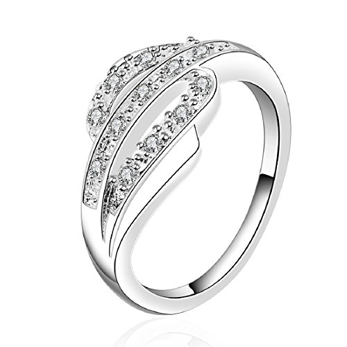 Fashion 925 Sterling Silver Jewelry Wave Design Elegant Engagement Wedding Ring Size 8