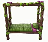 Miniature Fairy and Baby Gnome Bed - a 4-Post Miniature Bed for your Fairy and Gnome Garden, Pixies and Sprites - A Fairy Garden Accessory