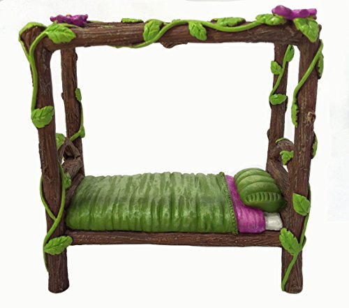 Miniature Fairy and Baby Gnome Bed - a 4-Post Miniature Bed for your Fairy and Gnome Garden, Pixies and Sprites - A Fairy Garden Accessory -