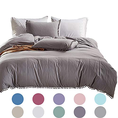 Lurson Ball Fringe Duvet Cover Light Gray Duvet Cover Double Bed Quilt Covers Queen Size