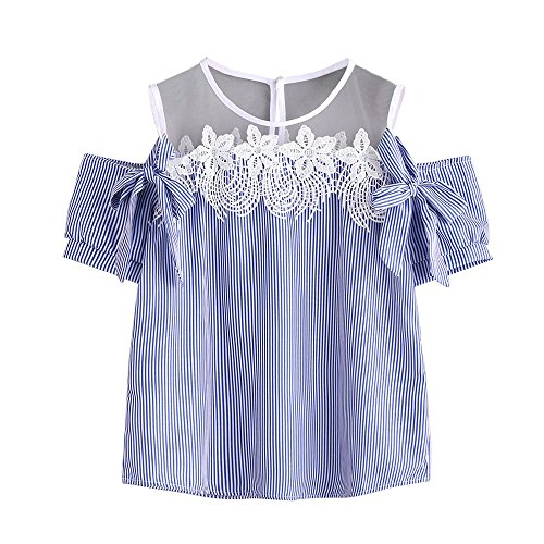 FORUU womens Tops Tees Under $10 2019 Gift for Girlfriend Blue Blouses for Ladies Summer Off Shoulder Short Sleeve Sexy Lace Chiffon Striped Casual Tops T-Shirt Tees Fashion Trendy Cute