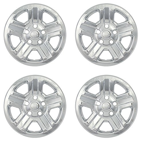 OxGord 17 inch Hubcap Wheel Skins for 2007-2011 Honda CR-V-(Set of 4) Wheel Covers- Car Accessories for 17inch Chrome Wheels- Auto Tire Replacement Exterior Cap Cover (Best Replacement Tires For 2010 Honda Cr V)