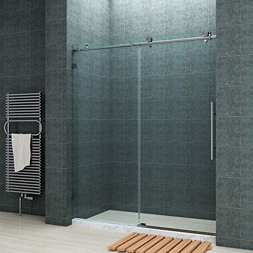 SUNNY SHOWER Fully 60 W x 72 H Frameless Sliding Shower Doors, 3 8 Clear Glass, Brushed Nickel Finish, Stainless Steel Hardware