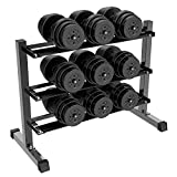Topeakmart 3-Tier Dumbbell Barbell Weight Lifting Rack, Size: 40.6 x 19.8 x 30.4''
