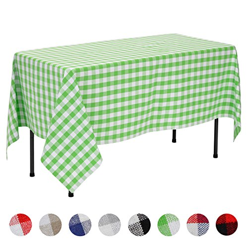 VEEYOO Rectangular Plaid Check Tablecloth Gingham 100% Cotton for Home Kitchen Party Indoor or Outdoor Use 60 x 84 inch (Seats 6 to 8 People), Lime & White