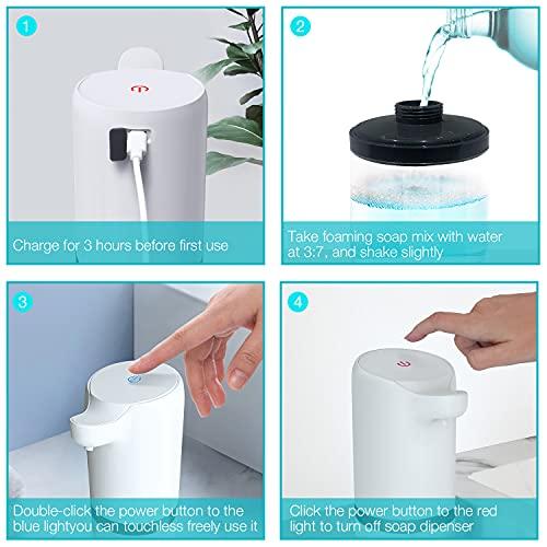 LDesign Touchless Soap Dispenser, Soap Dispenser Automatic,14oz/400ml USB Rechargeable Foaming Soap Dispenser for Kitchen, Bathroom, White