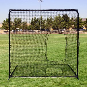 Square Protective Screen with Softball Pitcher's Net by FallLine