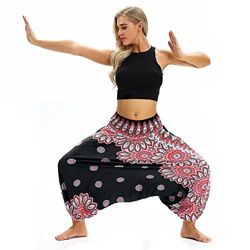 Pants Bohemian Harem Elastic Aladdin Women Pants Trousers Casual Xmiral Jumpsuit Waist Black3 Yoga Baggy Polyester 5FUqwT4