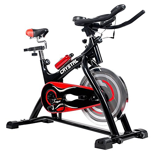 HYD-Parts Indoor Cycling Bikes with LCD Monitor and Free Bottle Trainer Bicycle Stationary Fitness Equipment with 30lbs flywheel Exercise Bike (Red&Black)