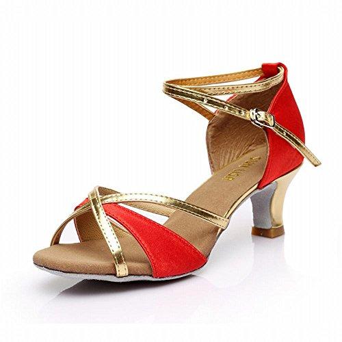 de Alto Tobillo Baile de Satinado Rojo Samba Jazz Modern Talón Latino de 5 Onecolor Clásico Social de Baile Baile Adulto Blando Presidente BYLE cm Trenzado Cuero Fondo Sandalias Zapatos Zapatos TWXTdqn