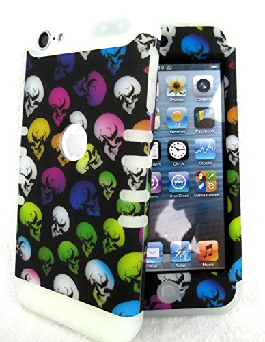 iPod Touch 5 Case, iPod 6 Case iTouch 5th & 6th Gen Cover Hybrid Heavy Duty Shock Resistant Silicon Skin & Hard Shell (Skulls Glow in The Dark)