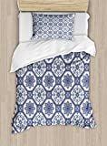 Arabian Duvet Cover Set by Ambesonne, Arabesque Floral Oriental Persian Afghan Medieval Baroque Tiles Shapes Tribal Artsy, 2 Piece Bedding Set with Pillow Sham, Twin / Twin XL, Blue White