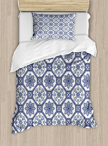Arabian Duvet Cover Set by Ambesonne, Arabesque Floral Oriental Persian Afghan Medieval Baroque Tiles Shapes Tribal Artsy, 2 Piece Bedding Set with Pillow Sham, Twin / Twin XL, Blue White by Ambesonne