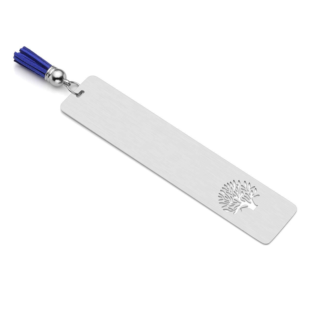 color Non Engraving Marcap/áginas personalizable de acero inoxidable 30 x 140 mm ideal como regalo de papeler/ía dise/ño de /árbol de la vida con borla azul PiercingJ