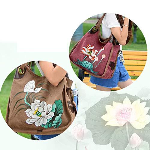 Grande LIUYL Shopping à à Mesdames Fille Bag Messenger Grand Main Sac Fleur Beach Sac Sac Blue Mode Capacité Voyage Sac Toile Bandoulière gOzfqAw