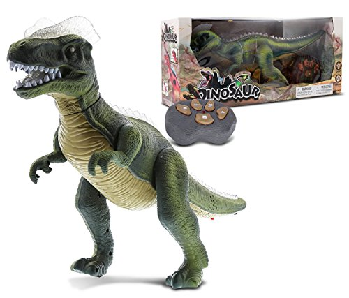 Mozlly Remote Control Dinosaur Realistic Big RC Dinosaur Toy Moving Walking Roaring Robot Dino - Lights Up with Sound - Action Figure Remote Control Robot Toys for Boys, Girls, Kids - Green or Brown ()