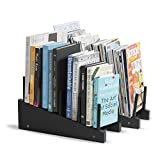brightmaison Table Desk Top File Wooden Magazine Holder and Book Organizer Stacking Sorter 4 Sectional Set of 2 Black