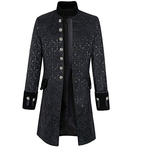 NSOKing Mens Gothic Steampunk Victorian Frock Coat Stand Collar Jacket (Small, (Black Frock Coat Costume)