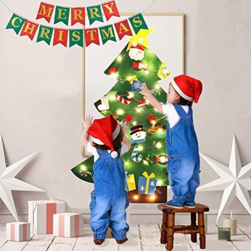 B bangcool DIY Felt Christmas Tree 26Pcs Christmas Gifts for Kids 3.2ft Wall Hanging Christmas Ornaments for Kids Christmas Wall Decorations (Felt Christmas Tree+Merry Christmas Banner?