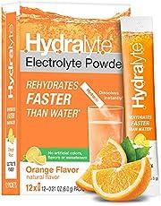 Hydralyte All-Natural Electrolyte Hydration Powder Sticks, Instant Dissolve ORSDrink Mix, Orange, 12 Count