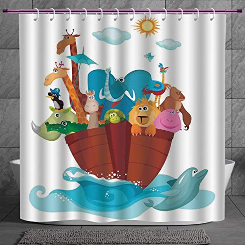 SCOCICI Funky Shower Curtain 2.0 [ Religious,Colorful Ark Ship with Set of Animals Old Ancient Religious Myths Artwork Print,Multicolor ] Fabric Shower Curtain - Bb Set Rainforest Animals