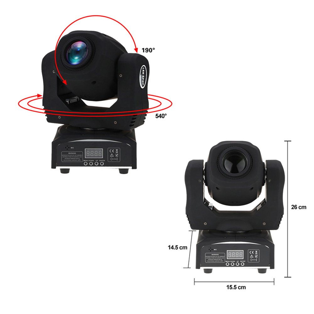 Docooler 60W LED 8 Gobo Moving Head Stage Light DMX512 RGBW Mini Beam Light 9//11 Channel Sound-activated DJ Club Disco Party Effect Lighting