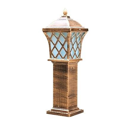 Amazon.com: Mpotow - Farol de columna de césped de jardín de ...
