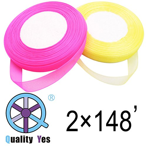 QY 2 Roll 1/2 Inch Wide by 50-Yard Monofilament Edge Simply Sheer Ribbon See Through Silk Ribbon for DIY Craft, Bright Yellow and Hot Pink Color