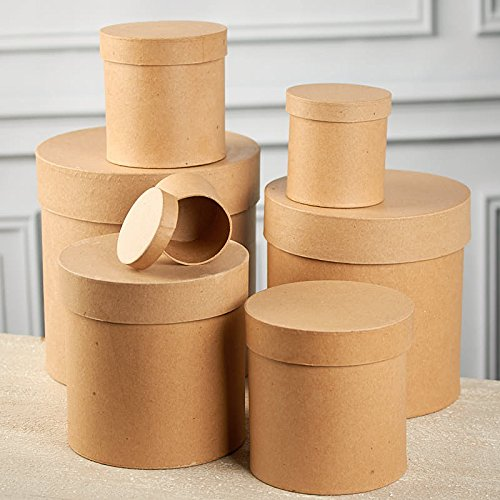 Set of 7 Ready To Decorate Nesting Tall Round Paper Mache Boxes for Crafting, Creating and Designing