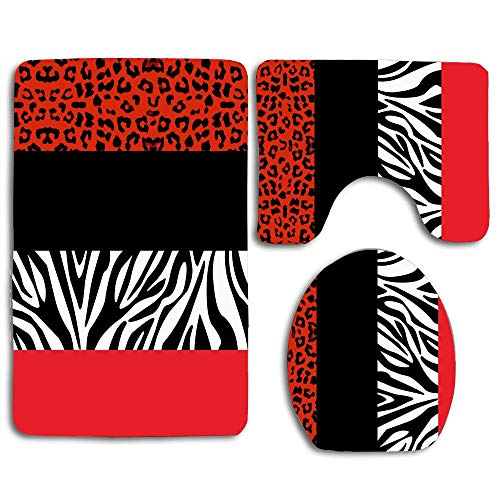 huachuangxinlHUQ Red Leopard and Zebra Animal Print Soft Comfort mat Anti-Skid Absorbent Toilet Seat Cover Bath Mat Lid Cover 3pcs/Set Rugs