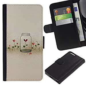 For Apple iPhone 6 Plus(5.5 inches),S-type® Flowers Locked Heartbreak Deep - Dibujo PU billetera de cuero Funda Case Caso de la piel de la bolsa protectora