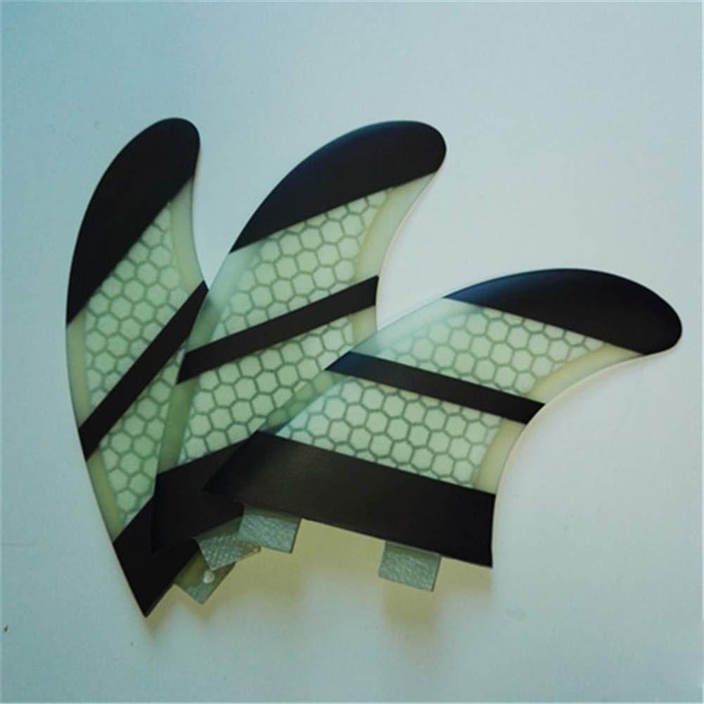 ONCEFIRST Fibreglass Surfboard Fins Thruster FCS G5 (3 Fins) Transparent Black M