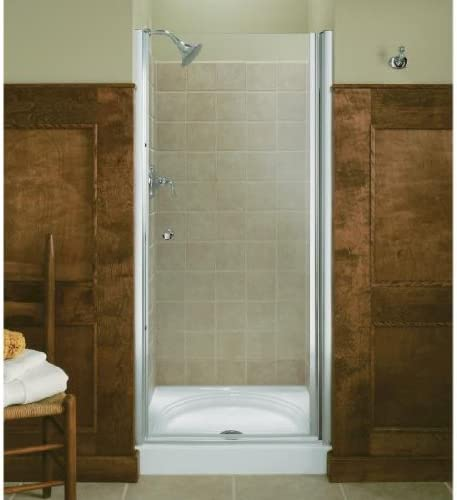 KOHLER K-702404-L-SH Fluence Frameless Pivot Shower Door, Bright Silver