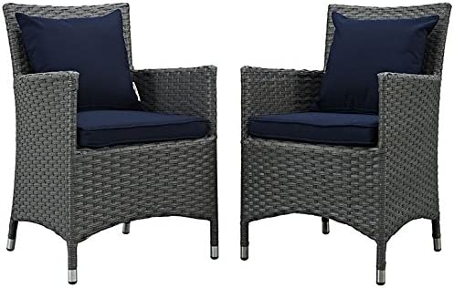 Modway EEI-2242-CHC-NAV-SET Sojourn Wicker Rattan Outdoor Patio Coffee Table, 2 Dining Chairs, Canvas Navy