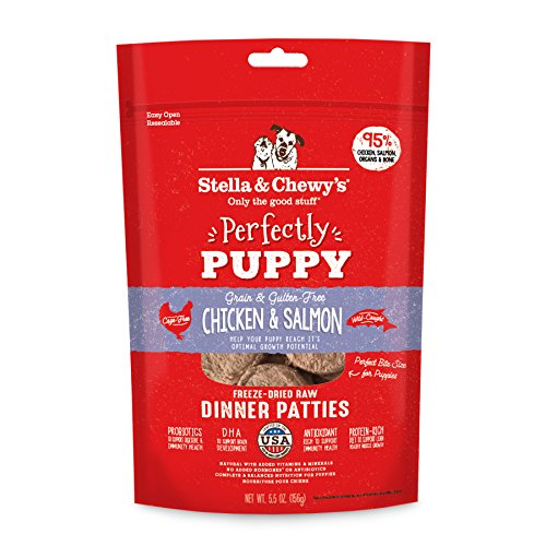 Stella & ChewyS PPFD-CS-5.5 Perfectly Puppy Freeze-Dried Raw Chicken and Salmon Dinner Patties Grain-Free Dog Food, 5.5 oz bag