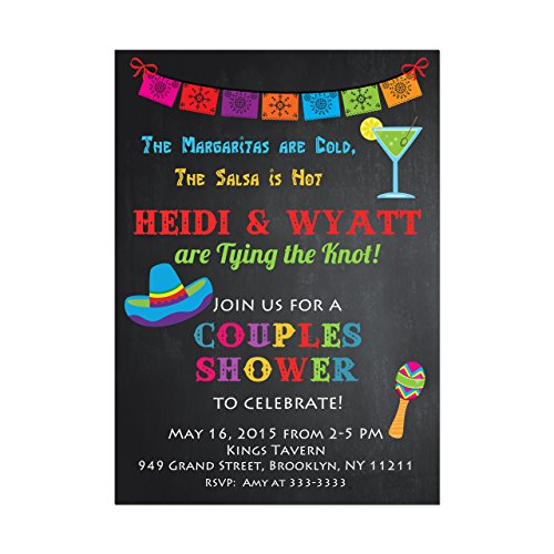 Mexican Fiesta Bridal Shower Invitation, Couples Shower or Engagement Party Invitation, Set of 10 invitations with white envelopes (Mexican Party Invitation)