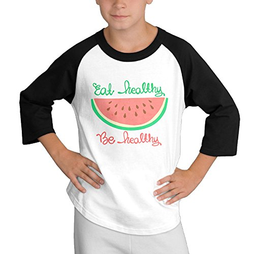 Price comparison product image MULTY9 Eat Healthy Be Healthy Child Youth 3/4 Sleeve T Shirts Medium