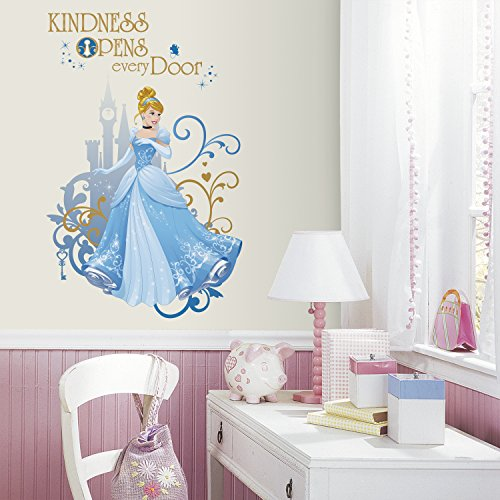 RoomMates RMK3032TB Disney Princess Cinderella Peel & Stick Giant Wall Graphic, 2 Count